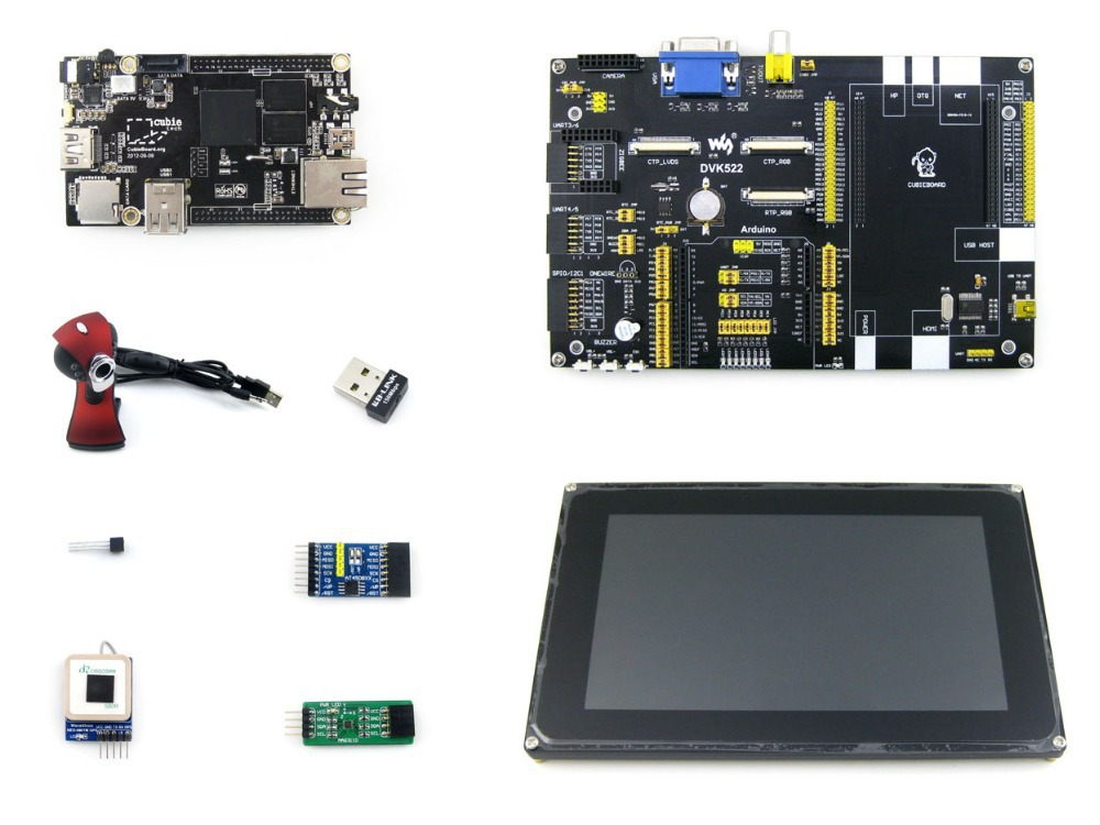 Cubieboard Package C Cubieboard Cubieboard 1 A10 ARM CortexA8 Mini PC with 7inch LCD +Expansion Board DVK522 + Module Kits(China (Mainland))