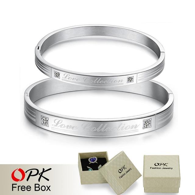 OPK FASHION JEWELRY  Wholesale Stainless steel Lover Bangle inlaid CZ diamond wristband bracelet, 849