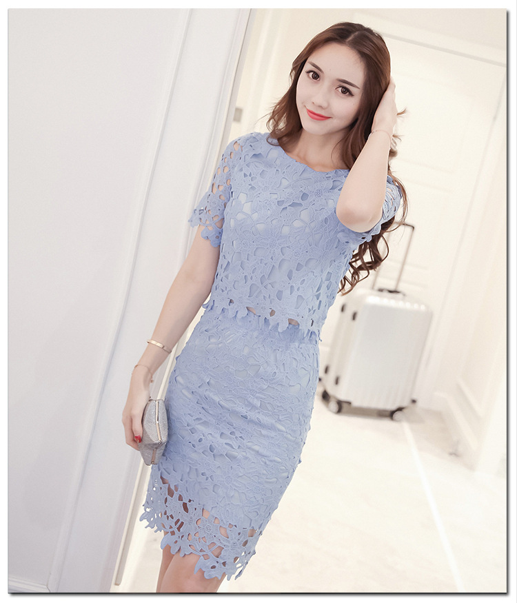 Women Lace Set  O Neck Crop Tops And Skirt Hollow Out Female Suit White Blue Pink 2 Pieces (1)