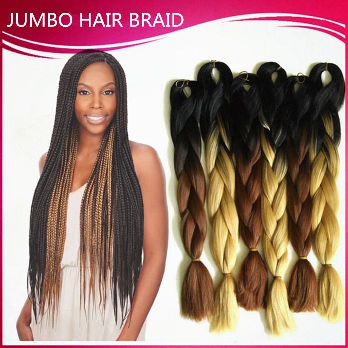 Ombre Kanekalon Braiding Hair 24inch Synthetic Brading Hair Extension 100g Ombre Braiding Hair 10Pcs Kanekalon Braiding Hair(China (Mainland))
