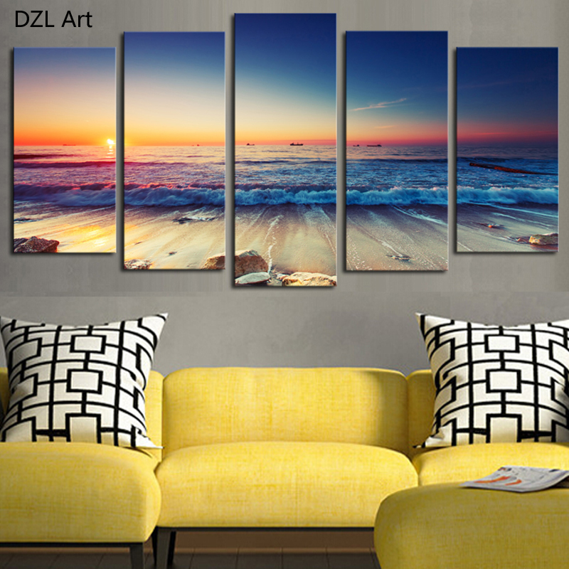 5 panels no frame the seaview modern home wall decor painting canvas art hd print painting - Home decor stores mn paint ...