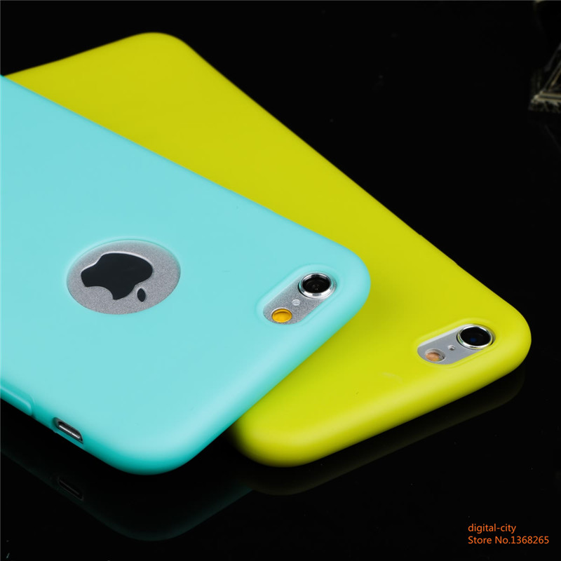 Newest recommended Candy colorful Soft texture TPU Silicon phone cases for iphone 6 6S 4.7inch Logo Window Ultra thin back cover(China (Mainland))