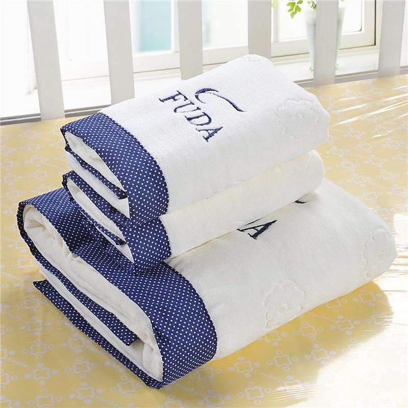 Towel set cotton face towels bath towel beach hand adults home bathroom facecloth Leaf gift white - Paris' Elf store