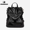 2016 New Fashion Black Backpack Women Waterproof Rivet Black Soft Leather Bags Vintage Shoulder Bag For