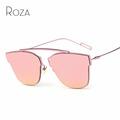 ROZA Women s Sunglasses Single Nose Design Flat Lens Brand Full Metal Frame Sun Glasses Oculos