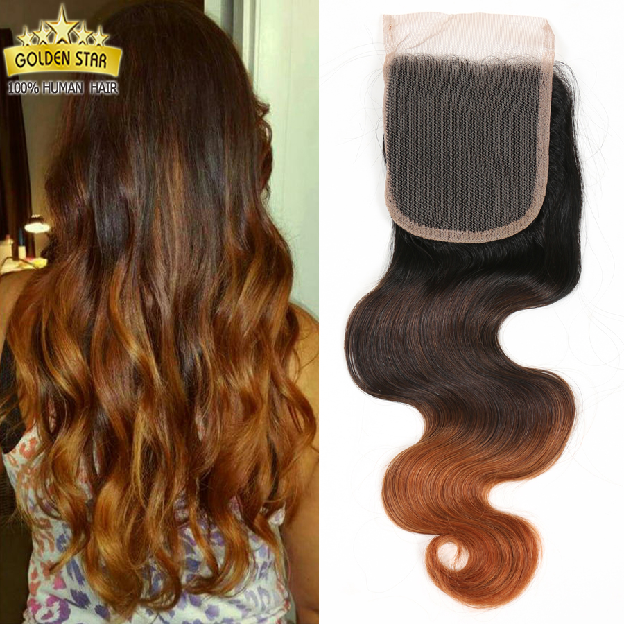 7a 4*4 Virgin Hair Ombre Brazilian Body Wave Bleached Knots Human Hair Free Part Lace Closure 12-24  Free Shipping 1b/4/27<br><br>Aliexpress