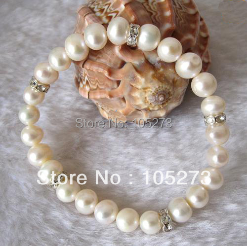 Lovely Pearl Jewelry 7.5inch White Color AAA 8-9MM Natural Freshwater Pearl Bracelet Elastic White Rhinestone New Free Shipping<br><br>Aliexpress