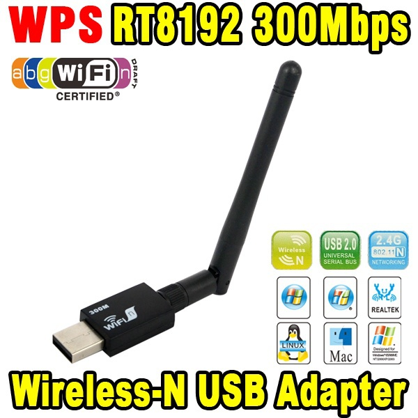 2015 USB wifi RT8192 300Mbps USB WiFi Wireless Network WI-FI LAN Adapter & Antenna Computer Accessories Support WPS(China (Mainland))