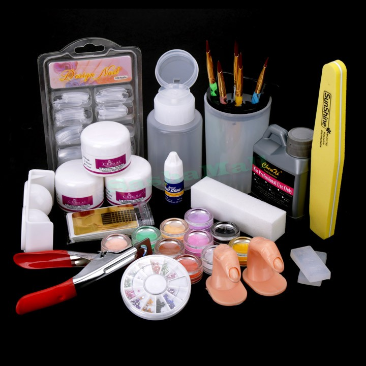 2015 New Beauty Nail Art Tips Kit Set Full Combo Liquid Powder DIY Acrylic Decoration Clipper Manicure Kit Set US51(China (Mainland))