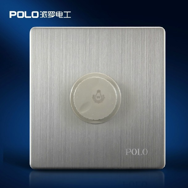 Free Shipping,POLO Luxury Wall Switch Panel, Dimmer , Light Switch,Button Switches, Silver Series,110~250V(China (Mainland))