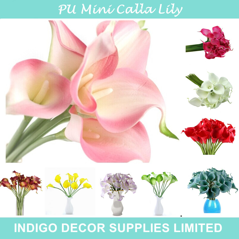 Promotion Mini Size PU Calla Lily Real Touch Many Color Decorative Fake Flower Wedding Bride Flower Wholesales Free Shipping(China (Mainland))