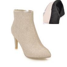 Meotina/женские ботильоны; теплые зимние ботинки; женские ботинки на молнии на тонком высоком каблуке; шикарная пикантная обувь для вечеринок; ...(China)