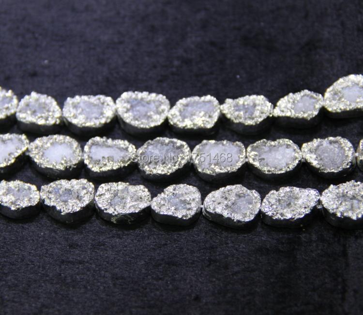 13*18mm Trendy gift Silver Titanium Druzy Agate Quartz Bead Pendants Top Drilled Drusy Slab Jewlery Making - Shenzhen Kindgems Jewelry CO., LTD Store store