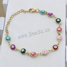 high quality evil eyes bracelets for women stainless steel bracelets bangles Colorful Enamel Evil Eye Chain Bracelet Bangles(China (Mainland))