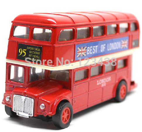 I LOVE LONDON British Style Red Alloy Double Layer Bus Model, Pull Back and Go Action Car Toy(China (Mainland))
