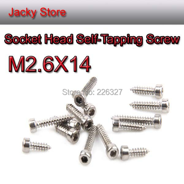 Free Shipping 100PCS Stainless Steel 304 A2 M2.6*14 Hex Socket Cap Head Self-Tapping Screw/Sound screw/model screw/wood screw(China (Mainland))