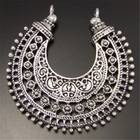12pcs Silver Tone Moon Antique Style Shaped Necklace Alloy Charm Pendants  38*38mm  03268