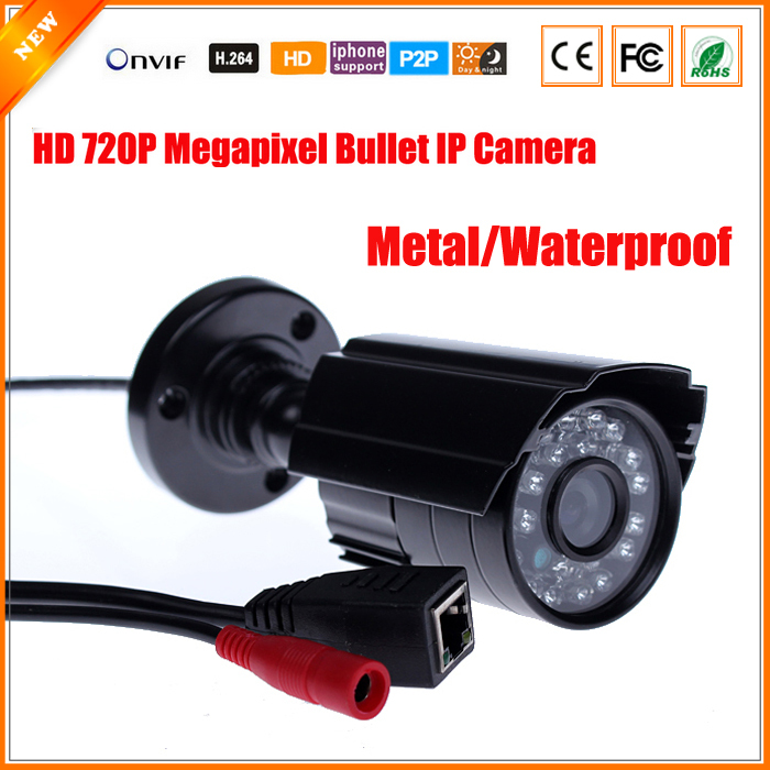 HD 1.0 Megapixel IP Camera Outdoor Bullet Waterproof 720P Security Surveillance Mini CCTV Camera IR Cut P2P Megapixel Lens(China (Mainland))