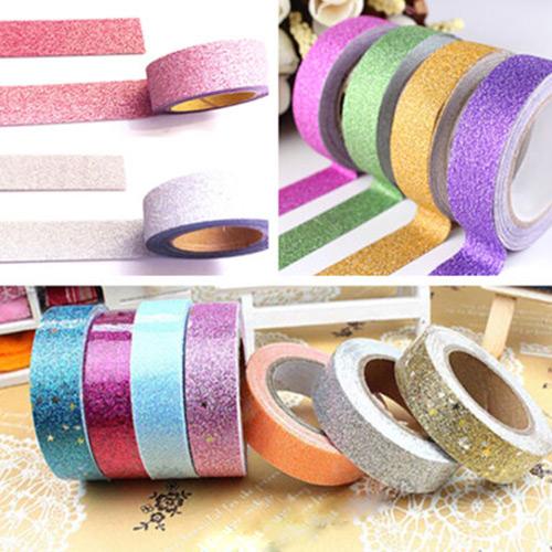 Гаджет  High Quality 5 meters Craft Glitter Washi Tape Book DIY Scrapbooking Adhesive Paper Sticker Gift Packing None Офисные и Школьные принадлежности