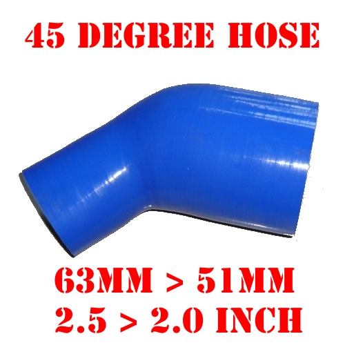 "63 mm > 51 mm, 2.5"" > 2.0"" Inch Silicone Reducer Hose Elbow 45 Degree Reinforced Silicone Pipe For Intercooler #24493564612 Bend(China (Mainland))"