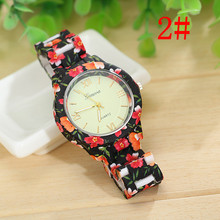 2015 geneva Plastic Flower Printed Geneva Watches Fashion Women Ladies Quartz Casual Watch Relogio Plastic Women Wristwatch