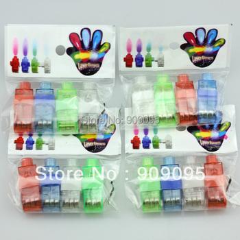8000pcs (2000 packs) 4x Colors flash laser finger light beams party Light-up finger ring laser lights with opp bag free shipping