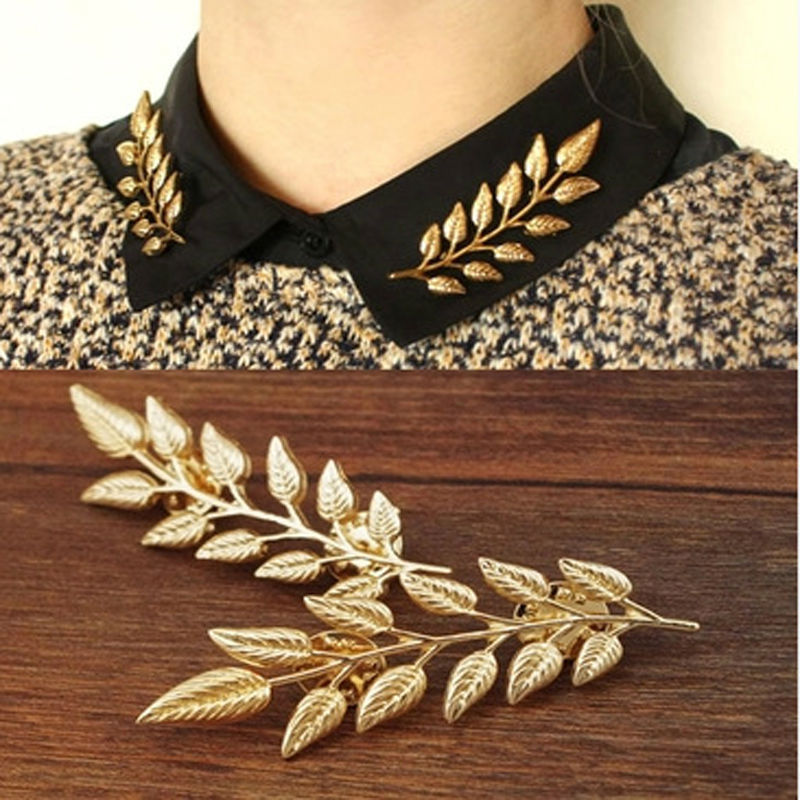 New 2015 women's fashion brooches,Leaves the collar buttons,pin up collar,Shirt accessories,fashion jewelry wholesale JD156(China (Mainland))