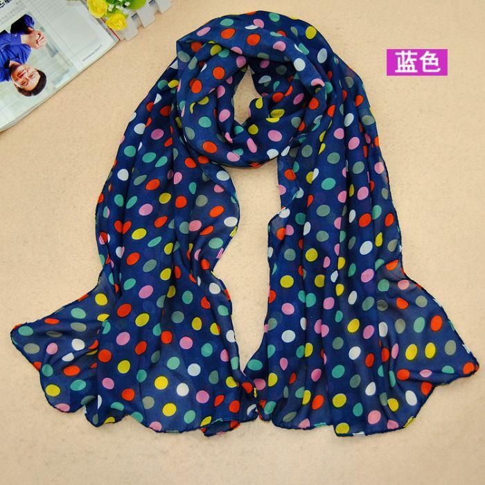 2014 new design women fashion printe polka dot scarf/shawls plain chiffon silk hijab head scarves/shawls 10pcs/lot(China (Mainland))