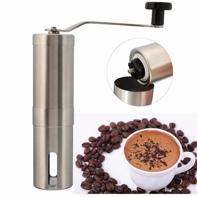 Hot Sale Silver Stainless Steel Hand Manual Handmade Coffee Bean Grinder Mill Kitchen Grinding Tool 30g