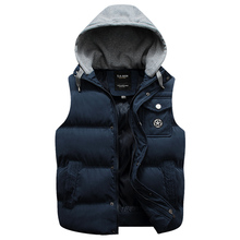 2015 Winter autumn Fashion hood vest men hooded male wadded jacket vest outerwear thickening coat mens warm vest male size M-3XL(China (Mainland))