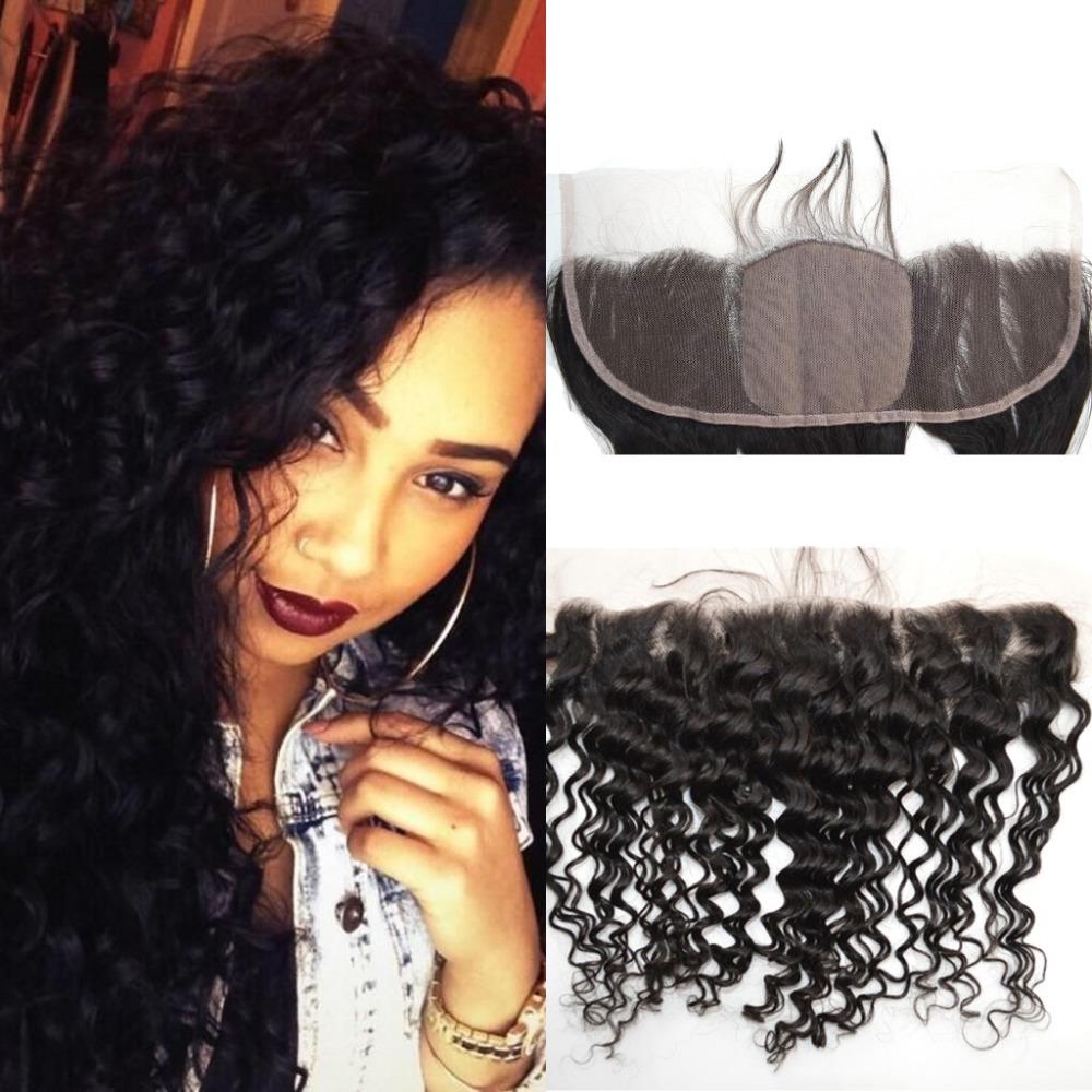 Unprocessed Virgin Brazilian Hair Silk Base Frontal Closure 13x4 Natural Brazilian Deep Wave Frontal 1Pc Brazilian Lace Top Wigs(China (Mainland))