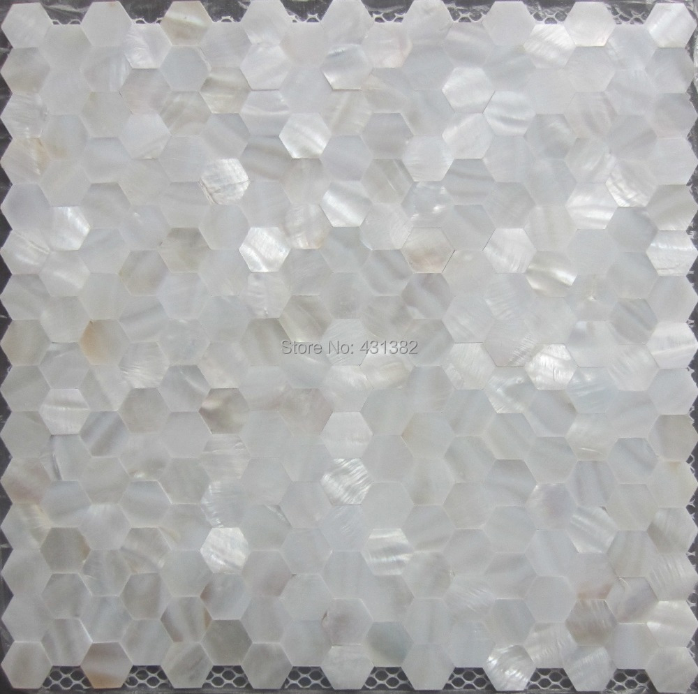 Mother Of Pearl Tile Hexagon Seamless On Mesh 20mm Shell