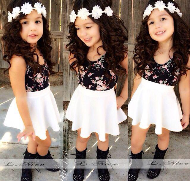 2015 summer new kids girls clothes set Girls Fashion floral casual suit Sleeveless T-shirt + dress - Panda store