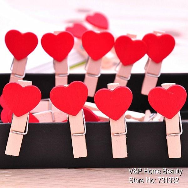 Wooden Red Heart Paper clips for foto Memo Clamp Wedding chalkboard blackboard Office accessories Zakka Novelty household 6204<br><br>Aliexpress