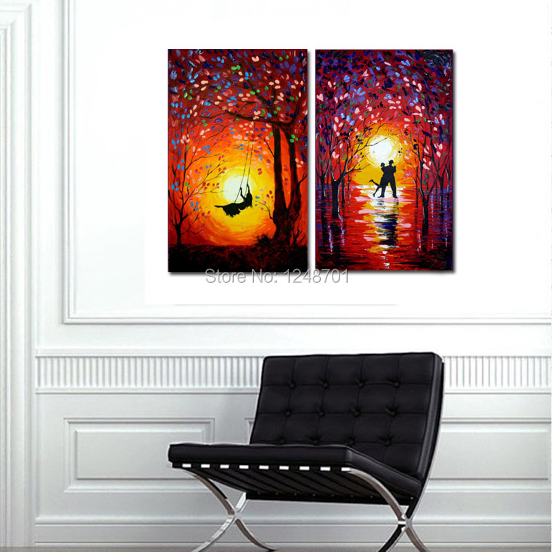 Buy Set Of Two Paintings Abstract - DancersSunset Swing - Acrylic Contemporary Art Palette Knife oil painting - Yellow Orange Blue cheap
