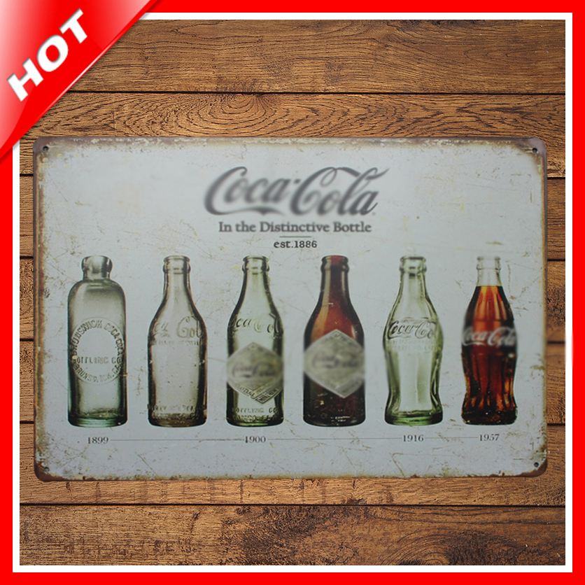 Shabby chic bottle vintage tin sign vintage metal sign for Plaque metal deco pour mur