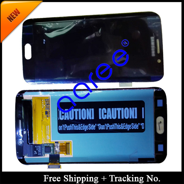 Free shipping 100% Original For Samsung Galaxy S6 Edge G9250 LCD Screen Assembly White/Dark Blue(China (Mainland))