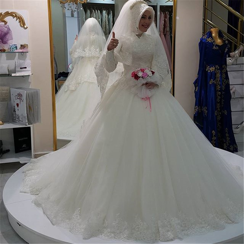 Muslim wedding dress 2016 high neck appliques lace long for Dresses for muslim wedding
