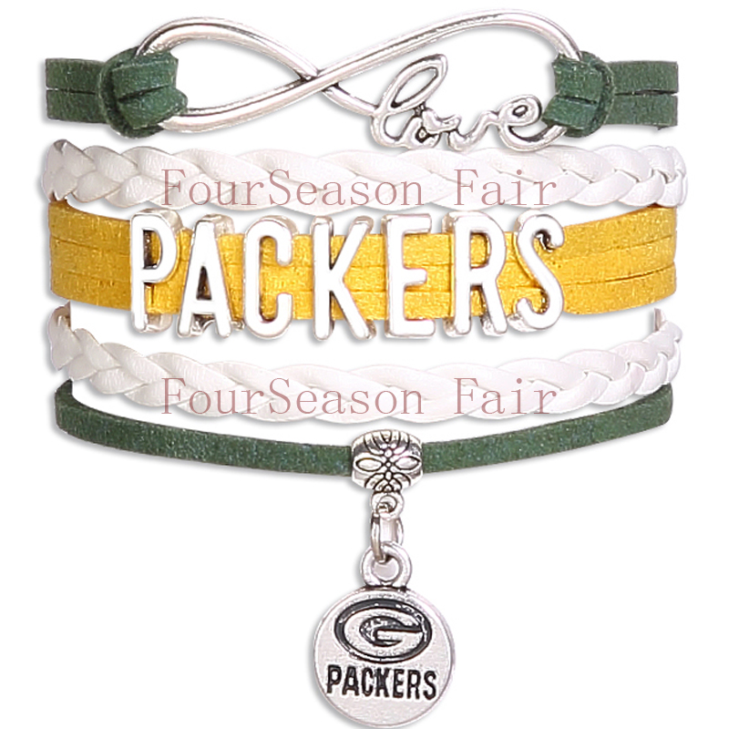 Custom-Infinity Love NFL Green Bay Packers Football Team Bracelet Green Gold White Sports friendship Bracelets-Drop Shipping(China (Mainland))