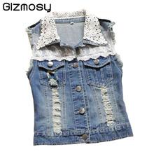 Blue Jeans Vest Women Spring  Veste Denim Tassel Vest Lace Sleeveless Gilet Shor