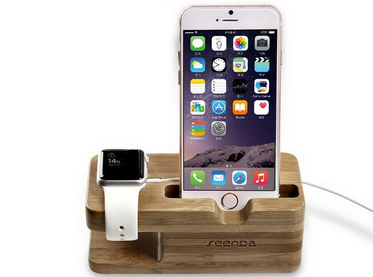 wooden bamboo iwatch and iphone charging holder