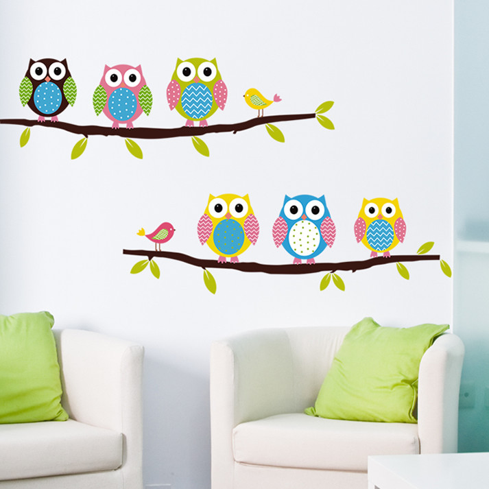 Copyright new wall stickers cartoon children room bedroom background decoration sticker draw cute owl 1403 - Lovely Home-Lise store