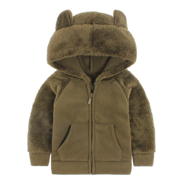 Ребенок мило толстовка девушка зима верхняя одежда мальчиков с капюшоном флис малыш толстые куртки пальто новый горячий дети теплый одеть ребенка ватки