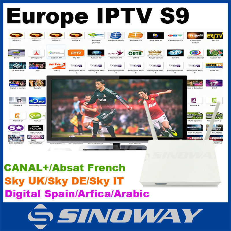 Hot android tv box iptv french S9 metal case Quad core 8GB NAND Flash with 1year free charge Europe channel(China (Mainland))