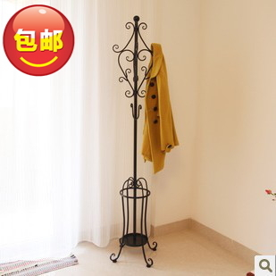 Ou shi, wrought iron clothes tree, bedroom ground hanging clothes ikea coat hanger creative umbrella stand big hanger(China (Mainland))