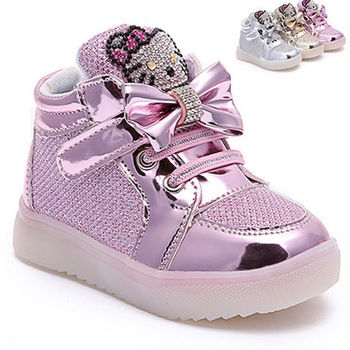 2016 newborn lights shoes baby girls shoes kids fashion boots children's casual princess shoes cartoon sneaker first walker