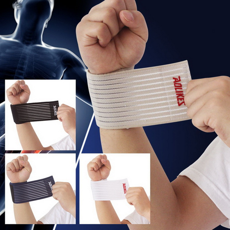 1Pair fitness cotton elastic bandage hand wrist straps sport tape wristband support wrist protector tennis wrist brace gym wraps(China (Mainland))