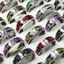 Free Shipping New 10pcs Wholesale Jewelry Lots Stainless Steel Fashion Mixed Color Rings(China (Mainland))