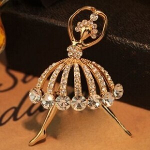 New arrival Special Korean Fashion Girl Created Diamond Jewelry Noble Female Ballet Girl Brooch Badge Corsage(China (Mainland))