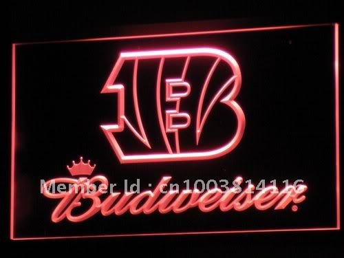 b272-r Cincinnati Bengals Budweiser LED Neon Light Sign Wholesale Dropshipping(China (Mainland))